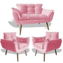 Conjunto Sofá Namoradeira Opala Para Sala Estar Recepção + 2 Poltrona Cadeira Opala Decorativa RL Decor - Suede Rosê -