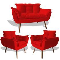 Conjunto Sofá Namoradeira Opala Para Sala Estar Recepção + 2 Poltrona Cadeira Opala Decorativa RL Decor - Suede Vermelho -