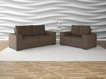 Conjunto sofas 3 e 2 lugares net destaque marrom - Netsofas