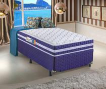 Conjunto Solteiro Espuma Millenium One Face D33 Azul 88x188x58 Colchão + Cama Box - Hellen colchões e estofados