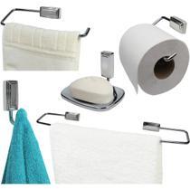 Conjunto Suportes de Banheiro 5 Peças Inti - Cromado - Wp Connect