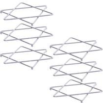 Conjunto Suportes Descanso De Panelas Estrela Dupla Cromado - Zanline