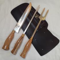 """CONJUNTO TRIPLO 100% artesanal, mod picanheira, aço carbono 1070,  10"""" de lâmina, cabo de madeira. - Cutelaria 7 Povos"""