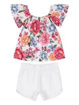 Conjunto Up Baby Infantil Blusa Malha e Shorts Tecido Floral -