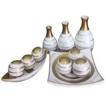 Conjunto Vasos Ceramica Enfeites Decoração Sala Completo - Jj