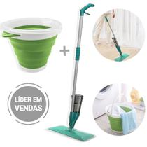 Conjunto Vassoura Magica com Borrifador + Balde Sanfonado de Silicone Limpeza 5L - 123 Útil