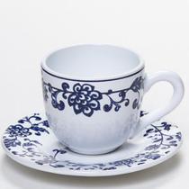 Conjunto xicara cafe com pires reto floral azul e branco - Scalla cerâmica