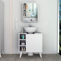 Conjuto balão e armário para banheiro slim branco appunto -
