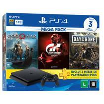 Console playstation 4 - mega pack 12 - c/ 3 jogos, 1 joystick, 3 meses ps+  sony -