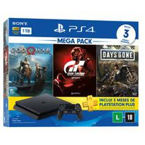 Console playstation 4 - mega pack 12 - c/ 3 jogos, 1 joystick, 3 meses ps+  sony -