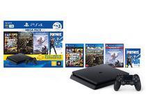 Console playstation 4 - mega pack 6 c/ 3 jogos, 1 joystick, 3 meses ps+  sony -