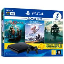 console playstation 4 slim 1tb 2115b c god of war,horizon,shadow + psn plus 3 meses - Sony