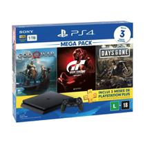 Console PlayStation 4 Slim 1TB + 3 Jogos + 3 Meses Playstation Plus (Bundle Hits 12) - Sony -