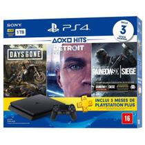 Console Playstation 4 Slim 1TB + 3 Jogos (Days Gone / Detroit / Rainbow Six Siege) - Sony