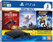 Console Playstation 4 Slim 1TB + 3 Jogos (Spider-Man + Horizon Zero Dawn + Ratchet e Clank) - Sony CUH-2214B -