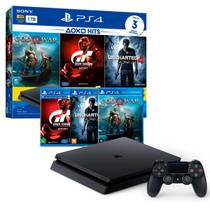 Console Playstation 4 Slim 1TB Bundle Playstation Hits 3 (3 jogos e PS Plus) CUH-2114B - Sony
