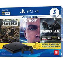 Console Playstation 4 Slim 1TB Hits Bundle 5 + Controle Dualchock 4 CUH-2214A 1 ano Brasil- PS4 - Sony