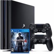 Console / Sony / Playstation 4 PRO / 1TB / 2 Controles - Preto + Jogo Uncharted 4 -