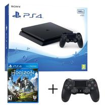 Console / Sony / Playstation 4 Slim / 1TB / 2 Controles - Preto + Jogo Horizon Zero Dawn