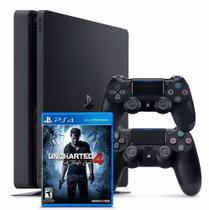 Console / Sony / Playstation 4 Slim / 1TB / 2 Controles - Preto + Jogo Uncharted -