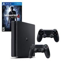 Console / Sony / Playstation 4 Slim / 1TB / 2 Controles - Preto + Jogo Uncharted