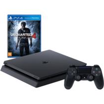 Console / Sony / Playstation 4 Slim / 500GB / 1 Controle - Preto + Jogo Uncharted 4 -
