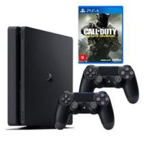 Console / Sony / Playstation 4 Slim / 500GB / 2 Controles - Preto + Jogo Call Of Duty - Infinite Warfare -