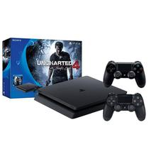 Console / Sony / Playstation 4 Slim / 500GB / 2 Controles - Preto + Jogo Uncharted 4 -