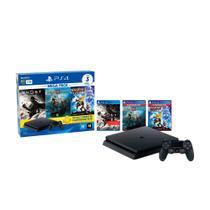 Console Sony Playstation 4 Slim Mega Pack, Com Controle Sem Fio Dualshock 4 Preto - Intelbras