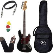 Contra Baixo Sx Jazz Bass Bd1 Preto 4 Cordas Passivo Com Bag -