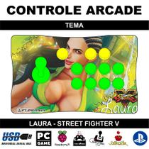 Controle Arcade / Fliperama para PC, PS3, PS4 e Raspberry - Tema Laura Street Fighter V - Clube do fliperama