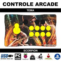 Controle Arcade / Fliperama para PC, PS3, PS4 e Raspberry - Tema Scorpion - Clube do fliperama