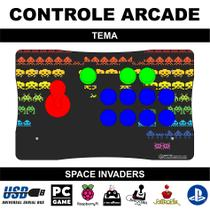 Controle Arcade / Fliperama para PC, PS3, PS4 e Raspberry - Tema Space Invaders - Clube do fliperama
