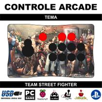 Controle Arcade / Fliperama para PC, PS3, PS4 e Raspberry - Tema Street Fighter - Clube do fliperama