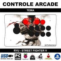 Controle Arcade para PC, PS3, PS4 e Raspberry com Placa Zero Delay Original - Tema Ryu - Clube do fliperama