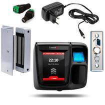 Controle de Acesso iDFlex Lite Bio e Prox com botoeira fecho eletroímã e fonte - Control Id
