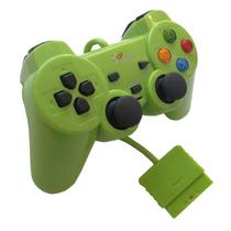 Controle Joystick Analógico Dual Shock Com Fio Color Psone Playstation 2 Play2 Ps2 FEIR FR-206 VERDE -