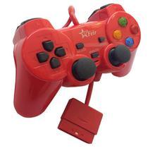 Controle Joystick Analógico Dual Shock Com Fio Color Psone Playstation 2 Play2 Ps2 FEIR FR-206 VERMELHO -