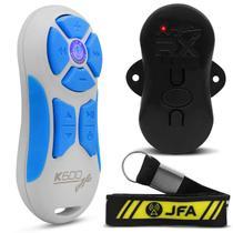 Controle Longa Distância Universal JFA K600 600 Metros Branco e Azul + Central Receptora + Cordão -