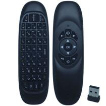 Controle Mini Teclado Air Mouse Wireless Sem Fio 2.4 Ghz Android Pc Tv C120 Preto - S/m