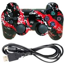 Controle Ps3 Raspberry Colorido Camuflado Joystick Wireless playstation 3 - Dhj