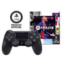 Controle Sony Dualshock 4 Preto sem fio + Voucher Fifa 21 Ultimate + 14 dias PSN - PS4 -