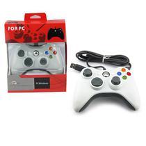 Controle Usb Com Fio Xbox 360 Para Computador PC Notebook Branco - Techbrasil