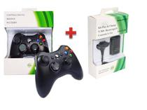 Controle Xbox 360 Sem Fio Wireless Usb Slim Joystick + Bateria - Feir