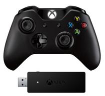Controle xbox one microsoft wireless com adaptador preto -