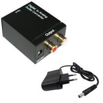 Conversor de Áudio Toslink Digital para Analógico - Óptico e Coaxial para RCA - Xtrad