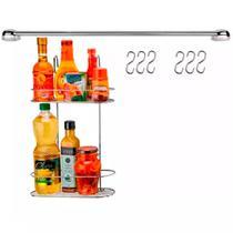 Cook Home 4508 Conjunto Cozinha Porta Tempero Duplo Ganchos Barra 45 cm Aço Cromado Arthi -