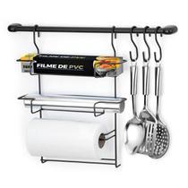 Cook Home 6 Black Suporte de Parede p/ Utensílios e Porta Rolos Papel Alumínio Plastico- Arthi -