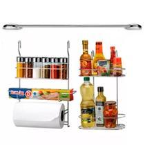 Cook Home 6041 Kit para Cozinha Suspensa com Porta Condimentos Tempero Rolos Barra 60 Cm em Aço Cromado Arthi -