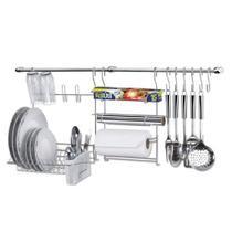 Cook Home 9 Barra Suspensa em Aço Suporte p/ Escorredor/Porta Rolo Ganchos - Arthi -